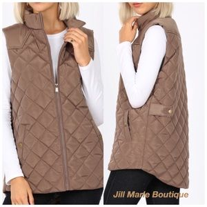 Quilted puffer vest mocha tan NWT